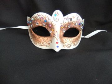 Pretty Gold & Peach Bright Jewelled Flower Mask